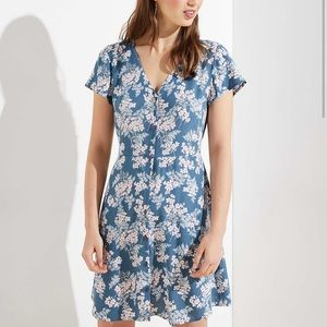 Floral Button Flutter Sleeve Dress LOFT Pockets